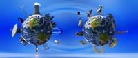 "Earth with circle of props by Panoramic Images - 36"" x 12"""