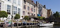 Tourists at the canalside, Bruges, West Flanders, Belgium Fine Art Print