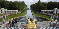 Golden statue and fountain at Grand Cascade at Peterhof Grand Palace, St. Petersburg, Russia Fine Art Print