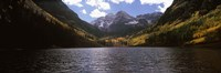 """Lake with mountain range in the background, Aspen, Pitkin County, Colorado, USA by Panoramic Images - 36"""" x 12"""", FulcrumGallery.com brand"""
