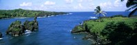 "High angle view of a coast, Hana Coast, Black Sand Beach, Hana Highway, Waianapanapa State Park, Maui, Hawaii by Panoramic Images - 36"" x 12"""
