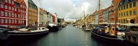 "Boats in a canal, Nyhavn, Copenhagen, Denmark by Panoramic Images - 36"" x 12"""