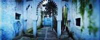 "Painted wall of medina, Chefchaouen, Morocco by Panoramic Images - 36"" x 12"""