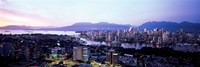 Aerial view of cityscape at sunset, Vancouver, British Columbia, Canada 2011 Fine Art Print