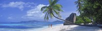 Couple walking on the beach, Anse Source d'Argent, La Digue Island, Seychelles Fine Art Print