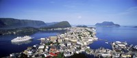 "Aerial view of a town on an island, Norwegian Coast, Lesund, Norway by Panoramic Images - 36"" x 12"", FulcrumGallery.com brand"