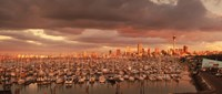"""Yachts at Waitemata Harbor on a cloudy day, Sky Tower, Auckland, North Island, New Zealand by Panoramic Images - 36"""" x 12"""""""