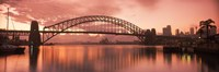 Sydney Harbour Bridge under Pink Sky, Sydney Harbor, Sydney, New South Wales, Australia Fine Art Print