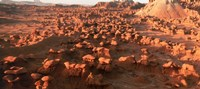 """Scenic rock sculptures at Goblin Valley State Park, Utah, USA by Panoramic Images - 36"""" x 12"""", FulcrumGallery.com brand"""