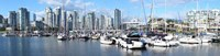 """Boats at marina with Vancouver skylines in the background, False Creek, British Columbia, Canada by Panoramic Images - 36"""" x 12"""""""