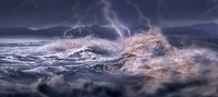 """Storm waves hitting concrete by Panoramic Images - 36"""" x 12"""""""