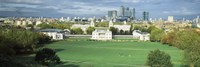 """Aerial view of a city, Canary Wharf, Greenwich Park, Greenwich, London, England 2011 by Panoramic Images, 2011 - 36"""" x 12"""""""