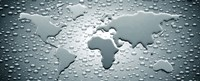 "Water drops forming continents (black and white) by Panoramic Images - 36"" x 15"""