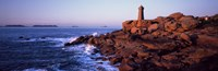 "Lighthouse on the coast, Ploumanach Lighthouse, Cote De Granit Rose, Cotes-D'Armor, Brittany, France by Panoramic Images - 36"" x 12"""
