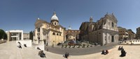 """Tourists sitting on steps at Piazza Porto Ripetta, Rome, Lazio, Italy by Panoramic Images - 36"""" x 12"""""""