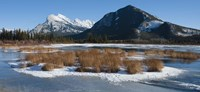 """Salt lake with mountain range in the background, Mt Rundle, Vermillion Lake, Banff National Park, Alberta, Canada by Panoramic Images - 36"""" x 12"""""""