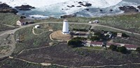 """Aerial view of Piedras Blancas Lighthouse on the coast, San Luis Obispo County, California, USA by Panoramic Images - 36"""" x 12"""""""