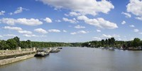 "Container ships at a canal lock, Neckar River, Lauffen am Neckar, Baden-Wurttemberg, Germany by Panoramic Images - 36"" x 12"""
