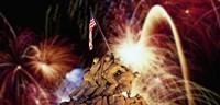 "Digital Composite, Fireworks Highlight the Marine Corps War Memorial, Arlington, Virginia, USA by Panoramic Images - 36"" x 17"""