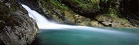 """Water falling into a river, Falls Creek, Hollyford River, Fiordland National Park, South Island, New Zealand by Panoramic Images - 36"""" x 12"""""""
