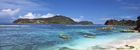 """Small fishing boats on Anse L'Islette with Therese Island in background, Seychelles by Panoramic Images - 36"""" x 12"""" - $34.99"""