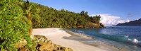 """Waves breaking on a small secluded beach on North Island, Seychelles by Panoramic Images - 36"""" x 12"""""""