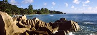 """Large granite rocks on the shoreline of La Digue Island, Seychelles by Panoramic Images - 36"""" x 12"""""""