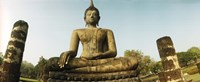 """Low angle view of a statue of Buddha, Sukhothai Historical Park, Sukhothai, Thailand by Panoramic Images - 36"""" x 12"""""""