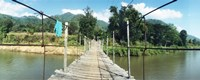 "Old wooden bridge across the river, Chiang Mai Province, Thailand by Panoramic Images - 36"" x 12"""
