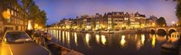 """Night view along canal, Amsterdam, Netherlands by Panoramic Images - 36"""" x 12"""""""