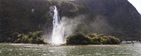 """Water falling from rocks, Milford Sound, Fiordland National Park, South Island, New Zealand by Panoramic Images - 36"""" x 12"""""""