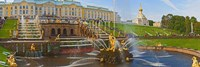 Grand Cascade fountain in front of the Peterhof Grand Palace, Petrodvorets, St. Petersburg, Russia Fine Art Print