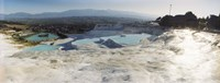 Hot springs and Travertine Pool with Cloudy Sky, Pamukkale, Turkey Fine Art Print