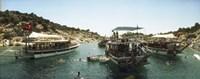 Boats with people swimming in the Mediterranean sea, Kas, Antalya Province, Turkey Fine Art Print