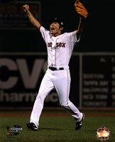 Koji Uehara celebrates winning Game 6 of the 2013 World Series Fine Art Print