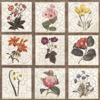 Monument Etching Tile Flowers Square II Framed Print