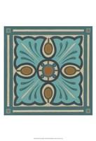 Piazza Tile in Blue I Framed Print