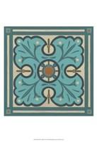 Piazza Tile in Blue IV Framed Print