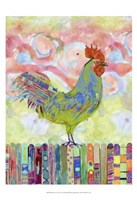 Rooster on a Fence I Fine Art Print