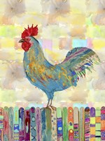 Rooster on a Fence II Fine Art Print