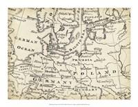 Map of Europe Grid V Fine Art Print