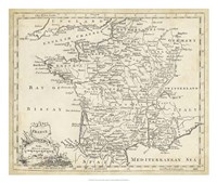 """Map of France by T Jeffreys - 26"""" x 22"""""""