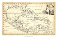 Map of West Indies Fine Art Print