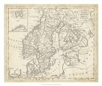 Map of Sweden & Denmark Fine Art Print