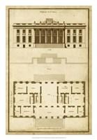 Vintage Building & Plan II Fine Art Print