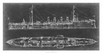 Navy Cruiser Blueprint Fine Art Print