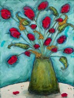 Flowers in Green Vase by Marabeth Quin - various sizes