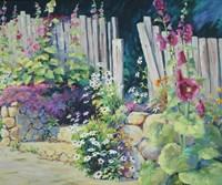 Hollyhock Garden Fine Art Print