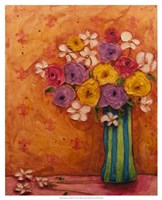 Bouquet in Striped Vase Fine Art Print