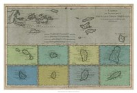 "Map of the Greater & Lesser Antilles by Vision Studio - 38"" x 26"", FulcrumGallery.com brand"
